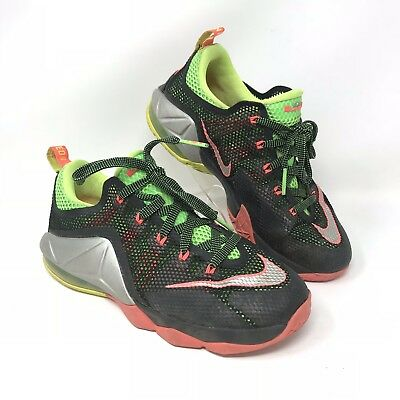 61596b9b386 Nike LEBRON XII 12 Low GG Youth Shoes Size 6Y 744547-003 Black Green Silver