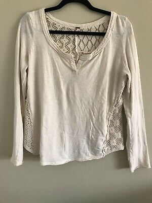 1dab71b3f4c65 FREE PEOPLE Boho Button Down Bohemian Peasant Crochet Lace Tunic Top Long  Sleeve