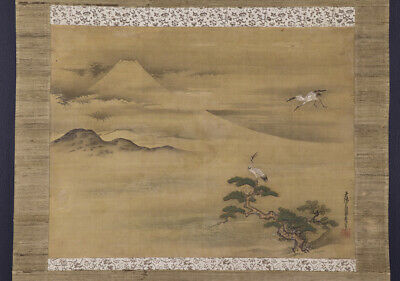 """JAPANESE HANGING SCROLL ART Painting Scenery """"Mt. Fuji"""" Asian antique  #E6846"""