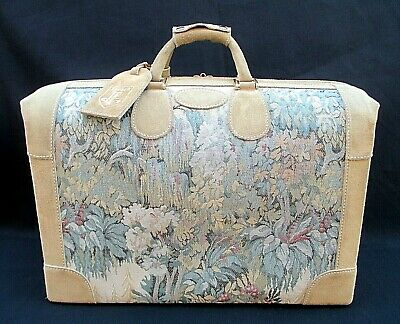 "Rare!! Vintage French Luggage Company ""paradise"" Suede Tapestry Shoe Tote Bag"