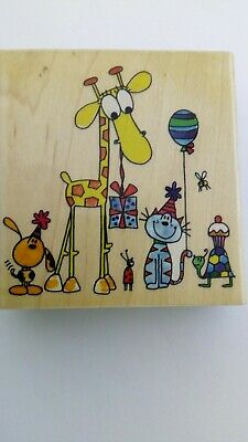 """Penny Black """"Party Animals"""" Wooden Block Stamp"""