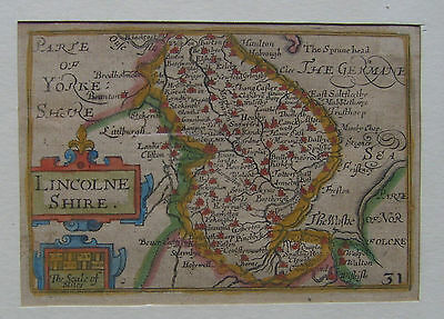 Lincolnshire: antique miniature map of Lincolnshire by Van den Keere, 1627-76