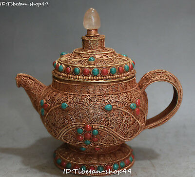 Old Tibet Silver Gilt Filigree Turquoise Coral Wine Pot Flask Flagon Statue