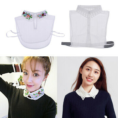2x Women False Collar Detachable Lapel Half Shirt Blouse Bib Choker Necklace