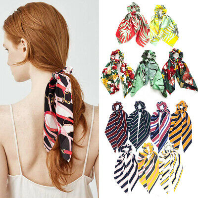 Women Elastic Ribbon Bow Hair Tie Rope Hair Band Scrunchie Scarf Ponytail Holder