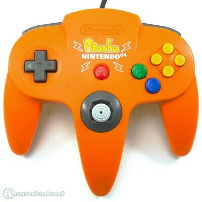 N64 official Nintendo pad orangeyellow Pikachu Edt. NUS005 with new Joystick
