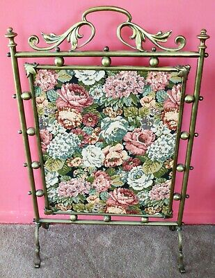 Art Nouveau Brass and Tapestry Fire Screen - Free Standing - Excellent Condition