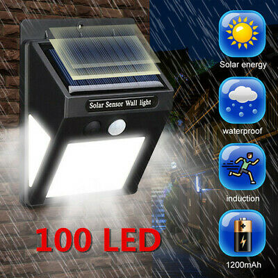 100LED 3 Sides Solar Powered Garden Lights PIR Motion Sensor Outdoor Security UK