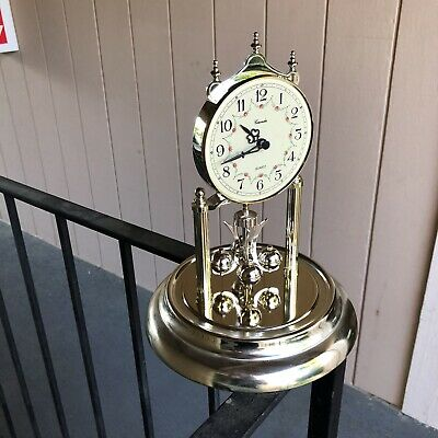 Concordia Anniversary Clock Mantle Gold Glass Dome Vintage Works 11.5""