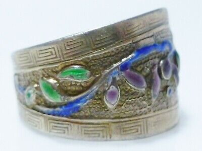 Chinese Export Sterling Silver Enamel Antique Old Flower Floral Wide Ring Band