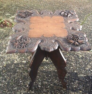Superb hand carved Padouk Wood Anglo Indian  Side / Occasional Table folding