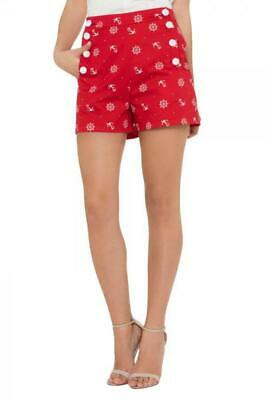 Voodoo Vixen 1940s Style Sue Red Nautical High Waist Shorts