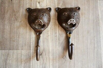 Vintage Cast Iron Animal Wall Mount Coat Hat Key Towel Bath Hook Hanger 2 Pic