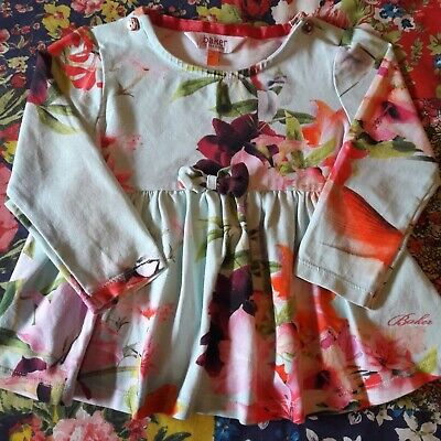 Ted Baker 12-18 Girls Floral Top Long Sleeved