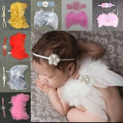 Newborn Baby Girl Feather Angel Wings Cocoon Wrap Photography Prop+Headband 2Pcs