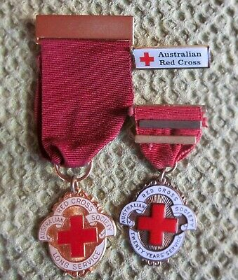 3 X Australian Red Cross Society Badge Medals - 20 Year's Service & Long Service
