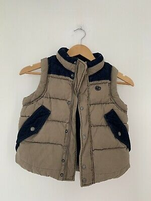 Boys Gilet Fat Face 6-7 Uears Brown Sleeveless Casual Padded <JJ12819