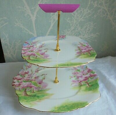 2 tier china cake stand Royal Albert pink Blossom Time