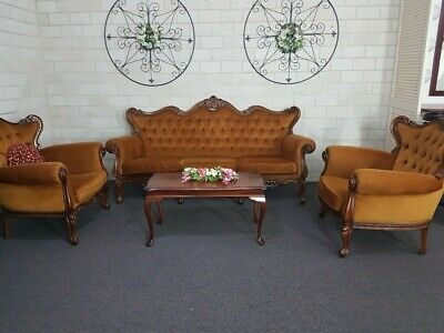 Vintage  Antique yellow velvet Lounge Sofa 3+1+1