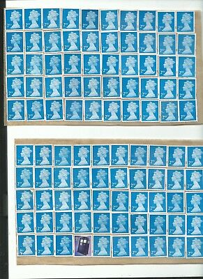 2nd CLASS STAMPS UNFRANKED X 100  'MACHIN' STYLE- ON PEEL OFF BACKING !!!