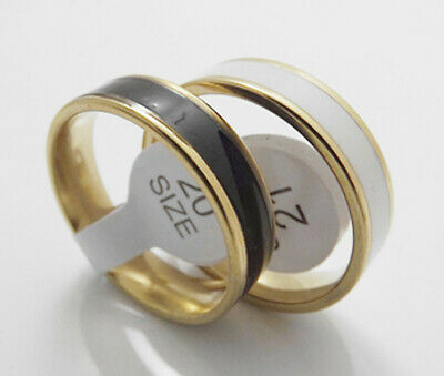 For sale 36pcs Fashion Black and white silicone gold bottom Stainless Steel Ring