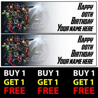 Buy 1 Get 1 Free Personalised Avengers Birthday Banners 100gsm Kids Party