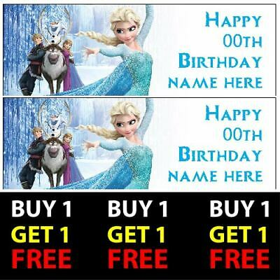 Buy 1 Get 1 Free Personalised Frozen Birthday Banners 100gsm Kids Party