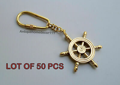Nautical Wheel Compass Key Chain Lot Of 50 Pcs Brass Collectible