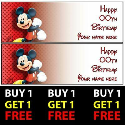 Buy 1 Get 1 Free Personalised Mickey Mouse Birthday Banners 100gsm Kids Party
