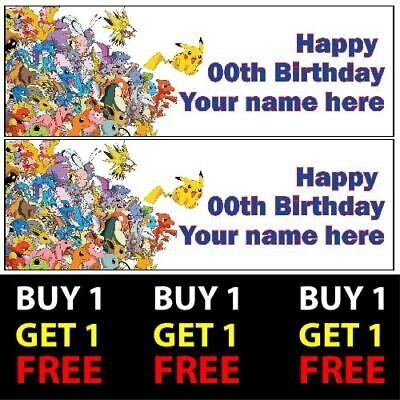 Buy 1 Get 1 Free Personalised Pokemon Birthday Banners 100gsm Kids Party