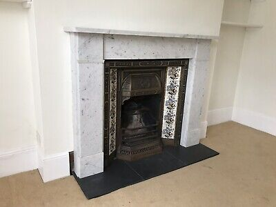 Edwardian Victorian Cast Iron Fireplace, Marble Surround and Slate Hearth
