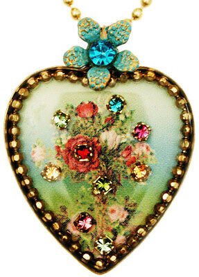 Michal Negrin Victorian Antique Vintage Style Roses Crystals Heart Love Necklace