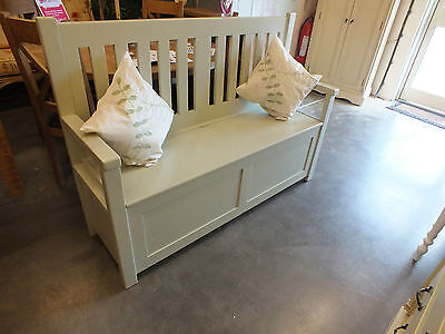 4' Painted Slat-Back Monks Bench/ Settle/ Pew/ Storage/ Hand Made/ Pine/ Bespoke