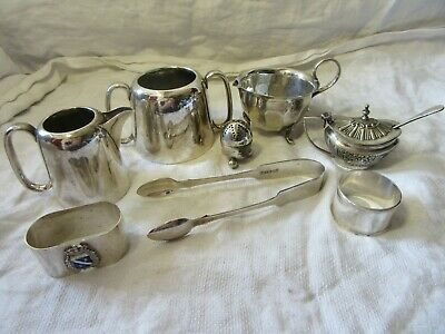 Job Lot Silver Plated Antique Items - JUG BOWL TONGS SALT CELLAR PRESERVE POT