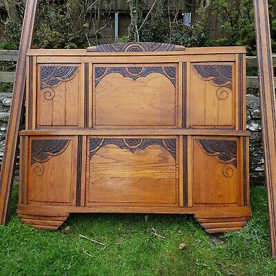STUNNING French ART DECO Carved Oak Standard Double 4 feet 6 Inch