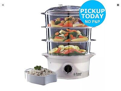Russell Hobbs 3 Tier Steamer 9 Litres Turbo Steam Healthy Food Steamer White NEW