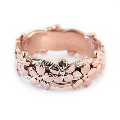 Womens Rose Gold Silver Floral Flower Band Ring Wedding Rings Jewelry Size 6-10