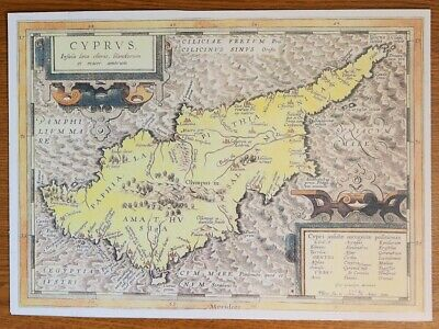 Map Print On Card For Framing Taken From An Original Antique 1584 Map Of Cyprus