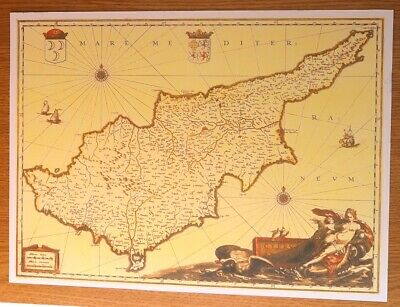 Map Print On Card For Framing Taken From An Original Antique 1535 Map Of Cyprus