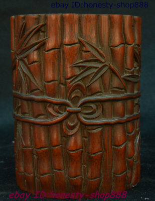 """6"""" Chinese Dynasty Palace Bamboo Auspicious Pen Container Brush Pot Pencil Vase"""