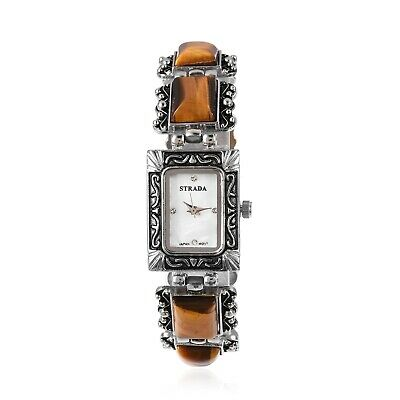 STRADA Tigers Eye Crystal Japanese Movement Watch in Silvertone with Steel Ct 50