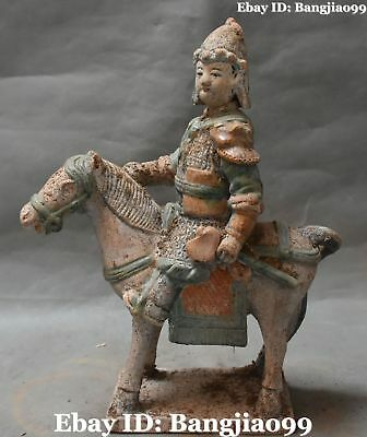 """12"""" Old Collect Chinese Tang Sancai Porcelain Ancient People Person Horse Statue"""