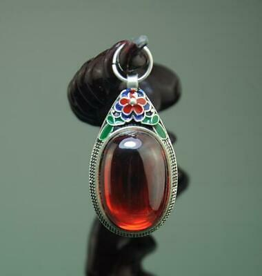 Chinese Old Cloisonne Boutique Tibetan Silver Inlay Carbuncle Pendant