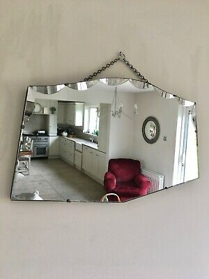 Large Vintage Retro Mid Century Bevelled Edge Frameless Wall Mirror 66cm x 37cm