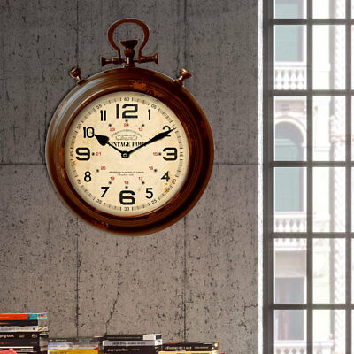 Wall Stopp Clock Time Display Metal Red Brown Digits Vintage Numbers Living Room