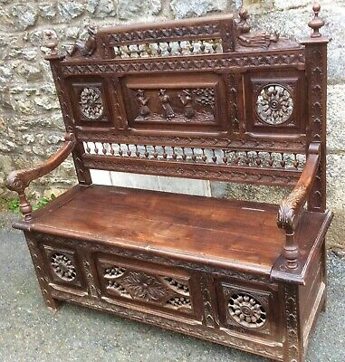 Breton French Carved Panelled bench