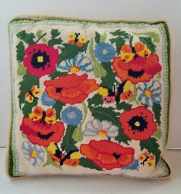 Vintage.60's Mod Retro Colorful Bright Needlepoint Handmade Floral Garden Pillow