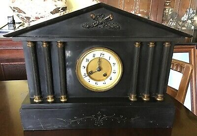 "Antique Large Slate Mantel Clock. 12.5"" X 16"" X 6.5"""
