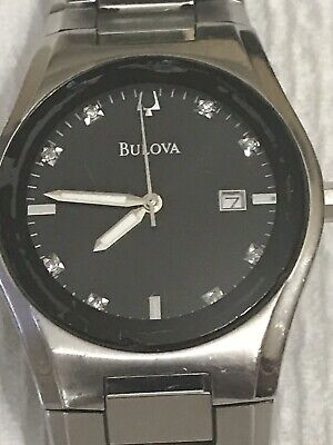 Bulova Men's 96B149 Classic Quartz Black Dial Silver-Tone Bracelet 38mm Watch