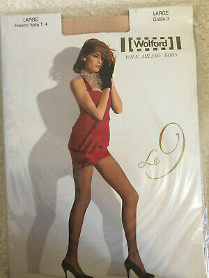 e484a875dba Wolford Le 9 Pantyhose Tights COSMETIC Sheer Luxury LARGE Collant Panty  10214